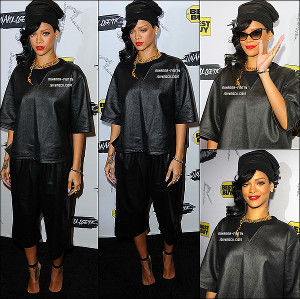 Riri à assisté une fête de lancement de la sortie de son album «Unapologetic» 20 Novembre 2012  ▬ R. Rihanna Fenty à été aperçue alors quel quittait son hôtel à New York.   Puis Rihanna F. au  « Rihanna's Unapologetic Release Party » au magasin « Best Buy » à New York: