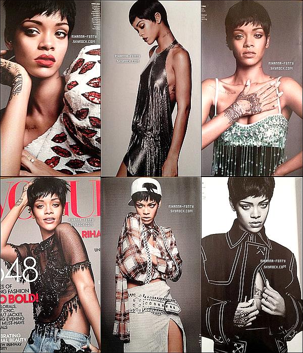 _    Rihanna fait la couverture du célèbre  magazine américain « Vogue », pour l'édition du mois de mars 2014.     _
