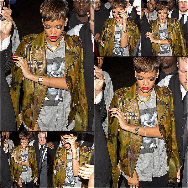 """27 JANVIER 2013 - Robyn Rihanna Fenty à été photographiée quittant le club « My Studio » à Los Angeles . Rihanna Fenty remporte un awards aux NMA""""s. le prix de l' « Artiste Féminine Internationale de l'Année »."""