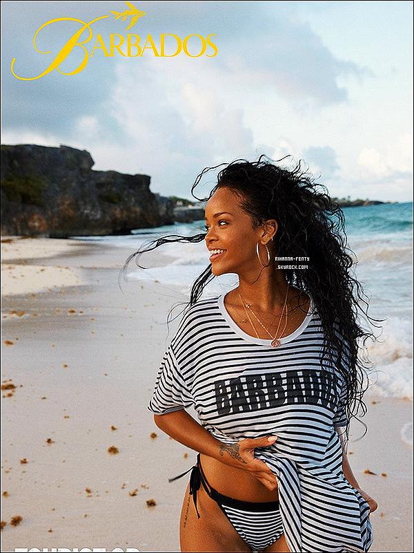 DÉCOUVREZ UNE AFFICHE PROMOTIONNELLE POUR PROMOUVOIR L'ÎLE DE LA BARBADE .  Découvrez une vidéo dévoilant les coulisses du photo shoot de Rihanna fenty pour l'édition d'avril du magazine « ELLE UK » Ici