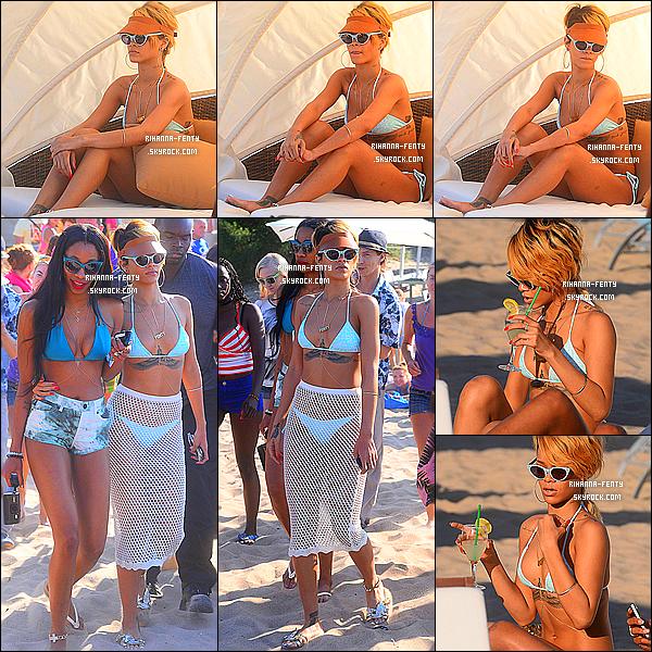 _ 07/07 : Rihanna profite de son séjour, elle s'est rendue à la plage à Sopot, Pologne avec sa meilleur amie Melissa.  -