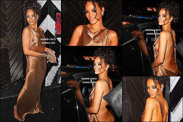 _ 05/05/2014 : Rihanna s'est rendue à  l'after-party organisée par le « Costume Institute Gala » . Que pensez-vous?Pour l'occasion notre Riri avait changé de tenue s'était glissée dans une robe dorée révélant ses courbes affriolantes. So Top or Flop ??   -