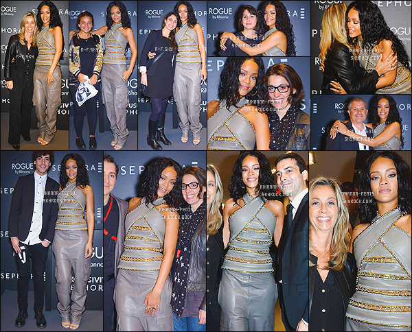 _ 04/06/2014 : Rihanna est à Paris, pour célébré le lancement de son parfum « Rogue » au magasin Sephora.Les fans étaient nombreux à attendre Rihanna sous la pluie devant le magasin Sephora…  Riri est arrivée avec  40 minutes de retard ..  -