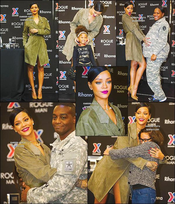 12/11/14 : Notre Rihanna toute belle, s'est rendue au « Fort Belvoir» dans le comté de FairFax en virginie. Top  Afin de promouvoir son parfum « Rogue Man ». Elle y a rencontré et posé avec des militaires et leurs familles. So Top or Flop ?