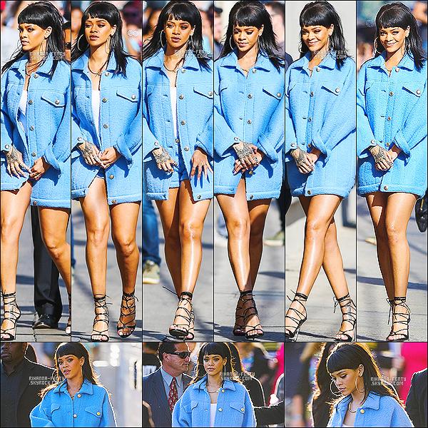 '  01/04/2015 - Notre sublime Rihanna Fenty, s'est rendue à l'émission de « Jimmy Kimmel Show » à Los Angeles.  '