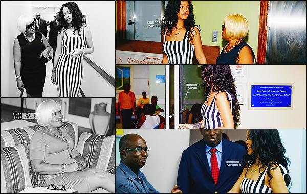 _ LA FONDATION DE RIH FAIT DON D'UN ÉQUIPEMENT VITAL À LA BARBADE  Lors de la dernière visite de Rihanna à la Barbade, la chanteuse a soutenu les changements d'épargne-de la vie du centre « Clara Braithwaite » pour l'oncologie et la médecine nucléaire (CBCom) situés à l'intérieur de l'hôpital Queen Elizabeth (HQE) à Bridgetown.  La Fondation Clara Lionel a fait don de ce qui est actuellement la seule pièce d'équipement à l'hôpital pour traiter le cancer. L'acquisition du nouvel équipement offre une technologie state-of-the-art qui permettra d'améliorer la qualité des traitements et des techniques chez les patients, une plus grande fiabilité des services, l'accès en temps opportun à l'oncologie et les services de médecine nucléaire, et nouvelles et plus sophistiquées techniques de traitement en radio-oncologie.  Ce centre, qui sert l'ensemble de la population de la Barbade fournit aux citoyens de l'île le meilleur accès aux soins pour le cancer pour de nombreuses années à venir.  Vous pouvez retrouver plus d'informations sur le site ClaraLionelFoundation.org