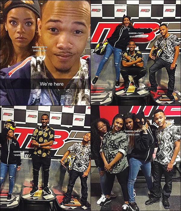 ' 16/04 /2015 - Rihanna a fêter l'anniversaire de son petit frère Rajad avec ses cousins en allant faire du kart à LA.  '