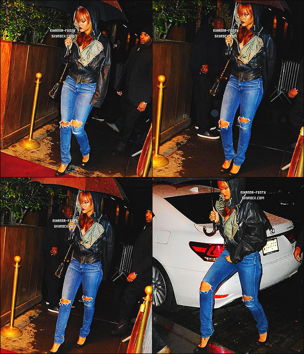 _ 31/05/2015 : Toujours sous une pluie battante, Rihanna a été aperçue, arrivant au club  « Griffin » à New York City.