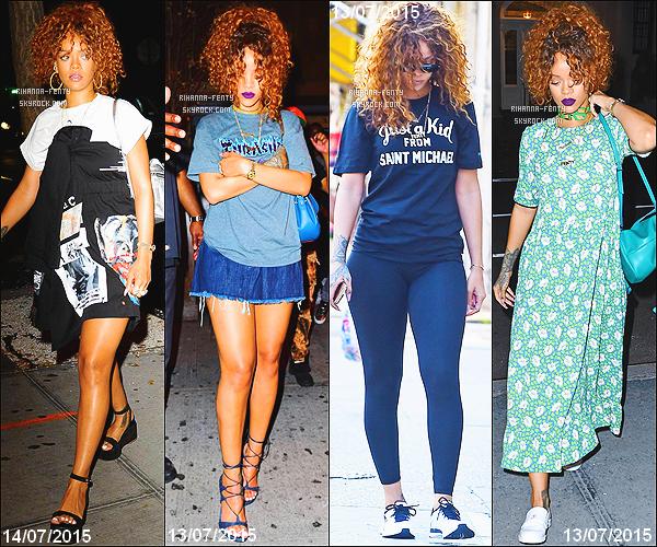 _ 14/07/15 - Rihanna a été photographié dans la soirée, se rendant dans un studio d'enregistrement New Yorkais .13/07 -  Plus tard, elle a été aperçue allant au club « Griffin » à New York. - Rihanna se rend à une salle de sport . 13/07/15 - Riri dans un salon de tatouage. 11/07 - Rih au club «Up & Down». - 10/07 - Rih quitte son domicile.