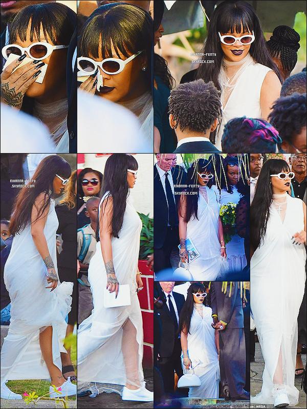 _ 09/01/2018  - Notre belle Rihanna s'est rendue aux obsèques de son cousin, Tavon Kaissen Alleyne à la Barbarde.