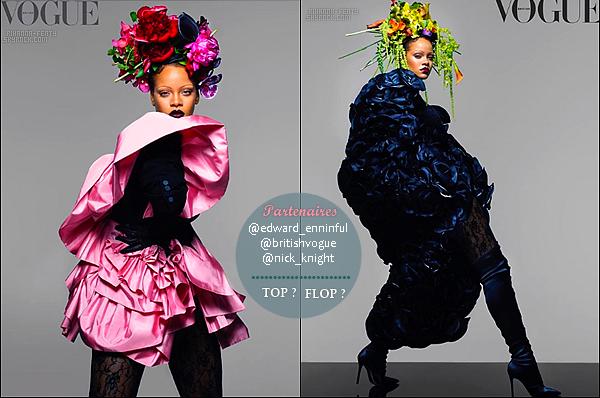 • Rihanna  pour le numéro du moi d'août  et de septembre du britsh vogue.               Rihanna  porte une robe  prada avec des gants  en dentelle.  Elle se dit : « Très honnoré d'être sur la                   couverture et être ravie d'être prise en considération »Demandez moi pour tout autres renseignements.