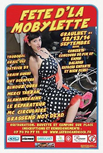 la derniere affiche de la fete d'la mobylette est arrivée ca va etre rock n' roll