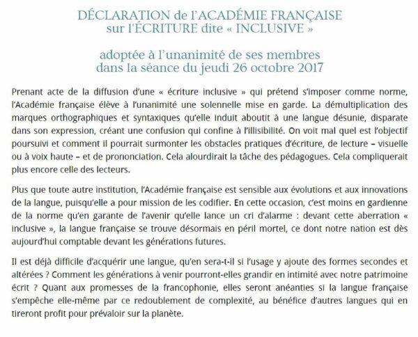 Déclaration salvatrice de l'Académie française.