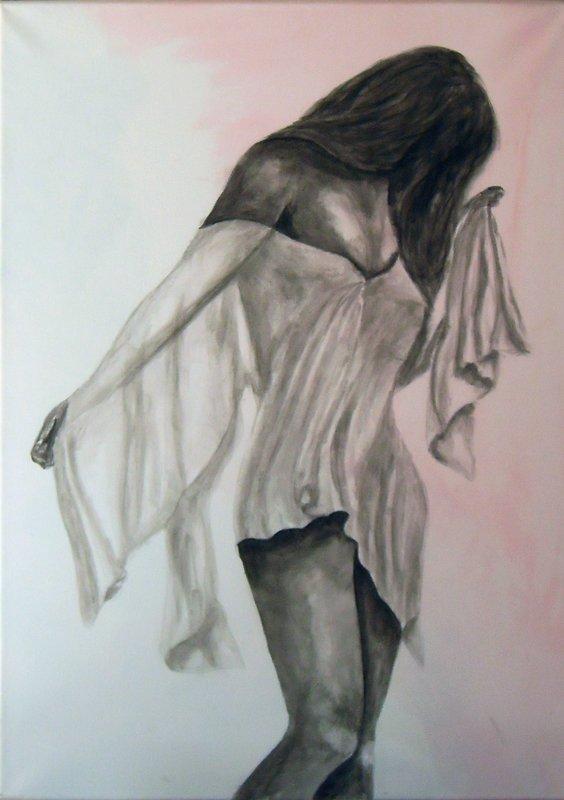 206 - Femme en nuisette, pudeur