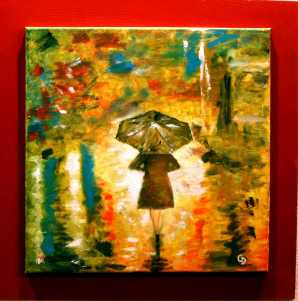 213 - Femme sous la pluie.