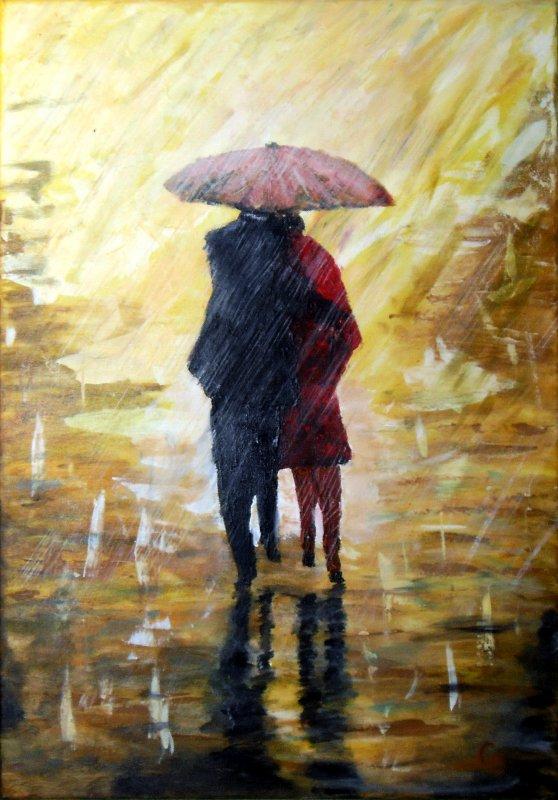 215 - Couple sous la pluie