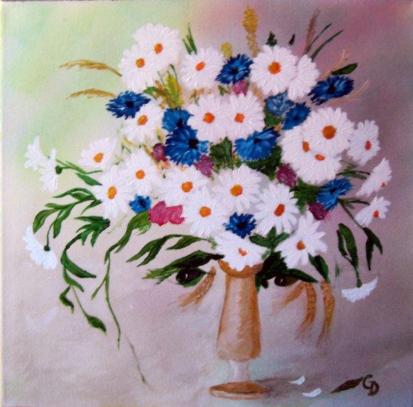 232 - Marguerites et bleuets