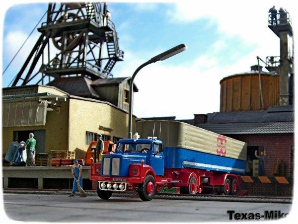 Brekina Scania L 110 Planensattelzug blau   FRACHTENKONTOR