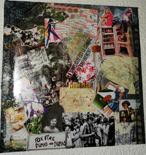 Collages sur toiles,sur bois,techniques mixtes,rétro/vintage