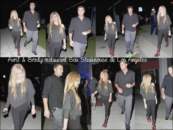 Avril et Brody ont été aperçus hier soir à la sortie du restaurant Boa Steakhouse de Los Angele