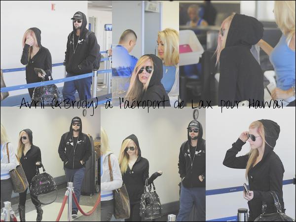 Avril et Brody ont été vus hier à l'aéroport de LAX (Los Angeles) pour prende un avion direction Hawaï