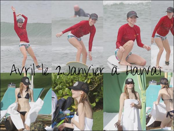 Avril était à Hawaï avec Brody,elle y à fait du surf se 2Janvier 2011