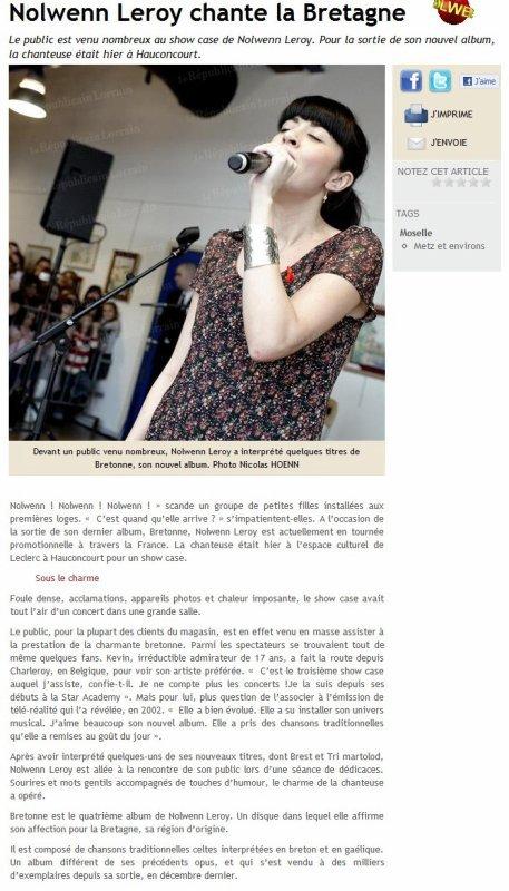 NOLWENN LEROY EN SHOWCASE AU MAGASIN LECLERC A METZ  ( 2 AVRIL 2011 )