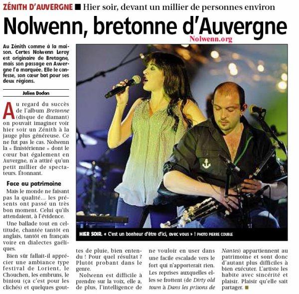 NOLWENN LEROY EN CONCERT AU ZENITH DE CLERMONT FERRAND , LE 9 NOVEMBRE 2011