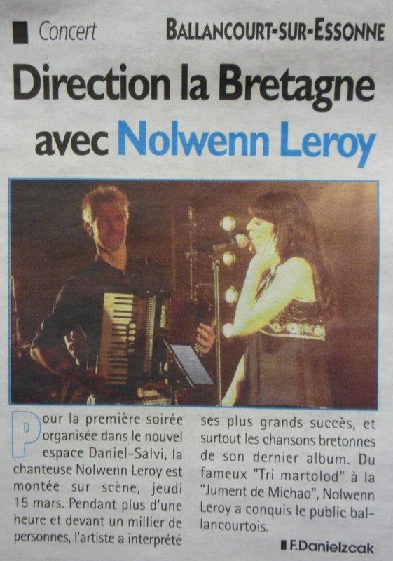 NOLWENN LEROY EN CONCERT A BALLANCOURT ET ROUEN ( 15 / 16 MARS 2012 )