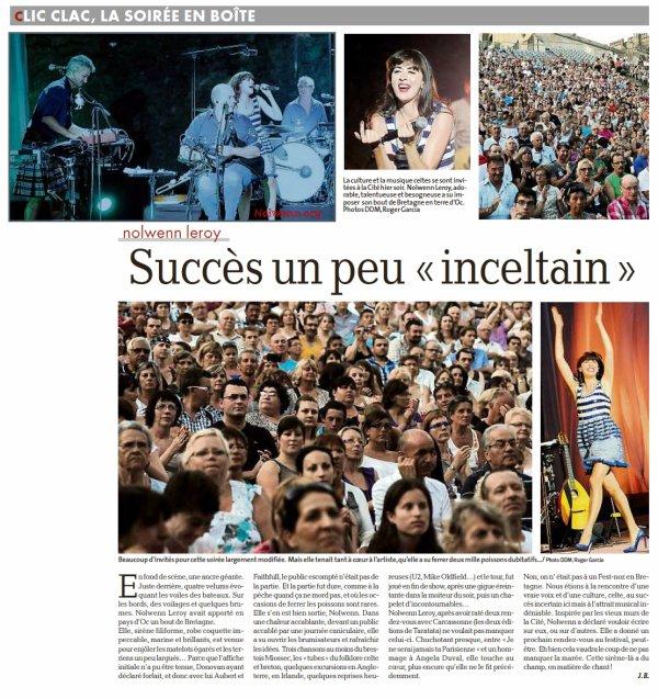 NOLWENN EN CONCERT A LUCON ET CARCASSONNE ET SPA LE 14 / 18 / 19 JUILLET 2012