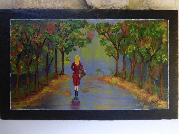Deuxième saisons, peinture sur ardoise.
