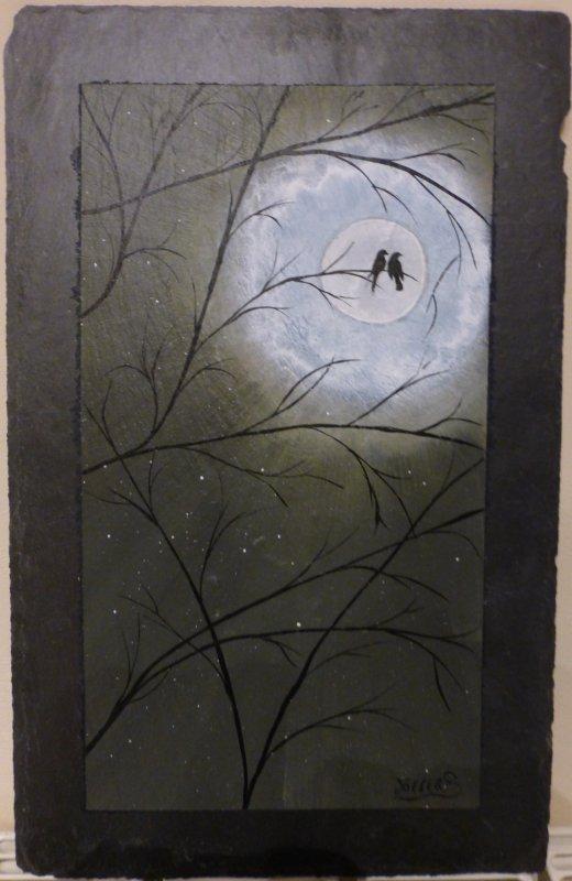 Pleine lune et nuit romantique.