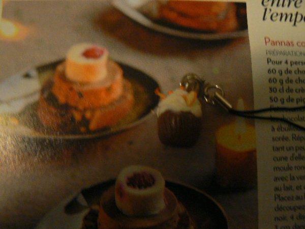 petit gateau avec de la chantilly et des tranches d' orange fait avec de la pate fimo
