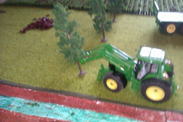 le tracteur abat les arbre