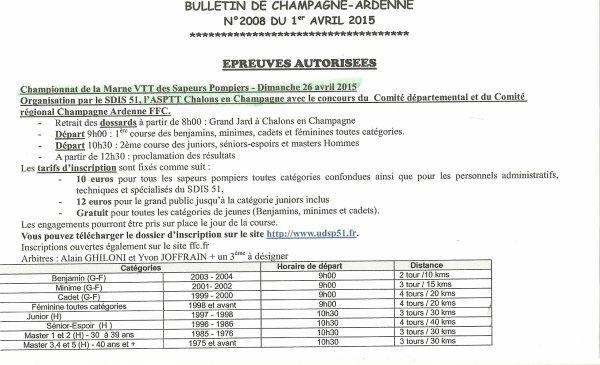 CE DIMANCHE 26.04.2015 ANNONCE DE COURSE