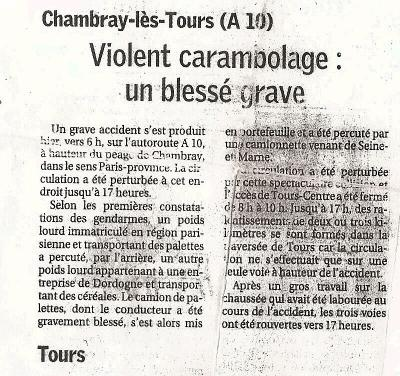 article journal du vendredi 20 Octobre 2006
