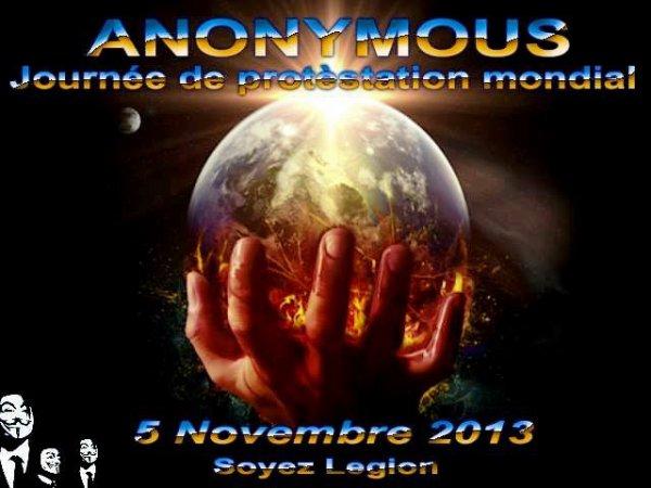Rendez vous le 5 novembre 2013, pour un rassemblement pacifique mondial et de désobéissance civile