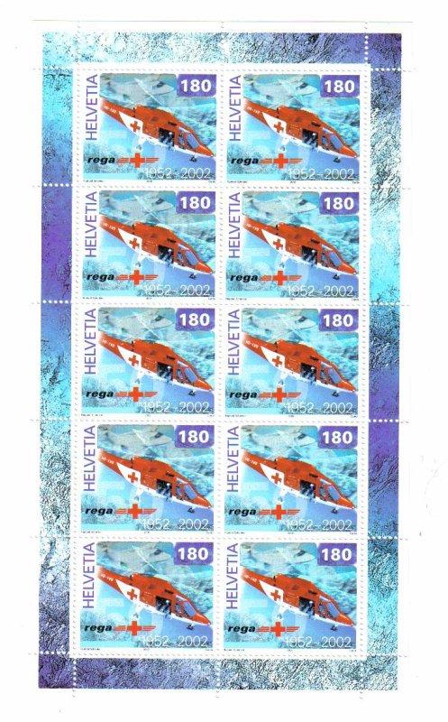 bloc anniversaire de la garde aerienne suisse REGA.     timbres
