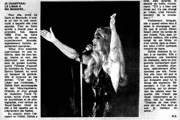 Dalida - Article de presse (Récital au Liban) - Vers 1977
