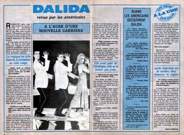 Dalida - Article de presse (Passage au Carnegie Hall de New York) - 1978