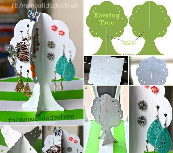 Des arbres rangements pour boucles d'oreilles