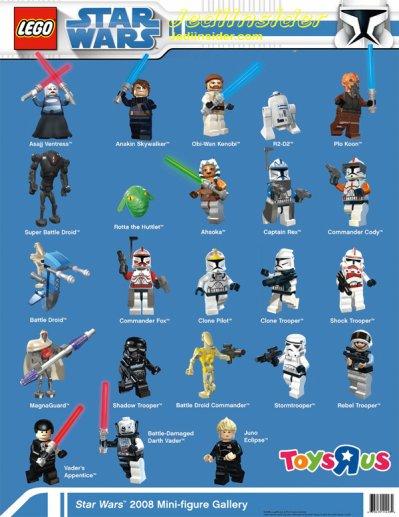 quelque personnages lego star wars