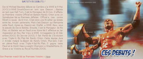 "+ ___WWW.XB0UH-WWE.SKƋYR0CK.C0M__________________________________________● ● ●____________ _____▬ ▬ ▬ ▬ ▬ ▬ ▬ ▬ ▬ ▬ ▬ ▬ ▬ ▬ ▬ ▬ ▬ ▬ ▬ ▬ ▬_____________Your French Best Source about Dave ""The Animal"" Batista ! +"