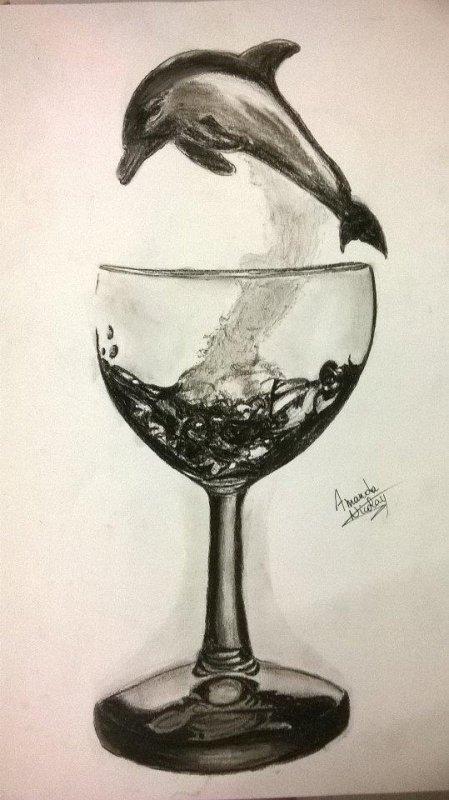 Dauphin dans le verre.