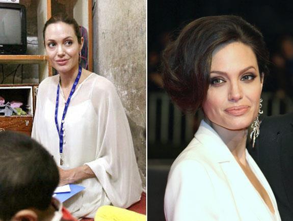 Angelina Jolie, avec et sans maquillage. Vous en pensez quoi de la différence?