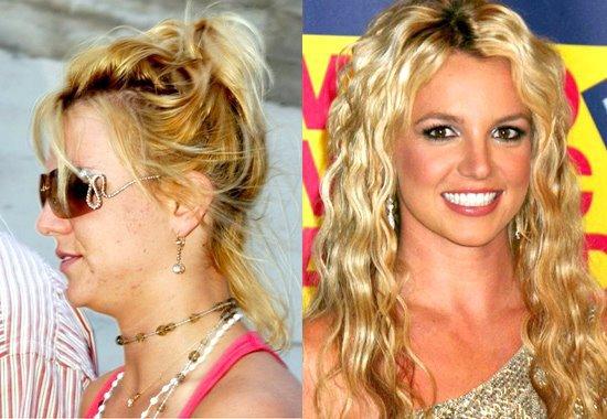 Britney Spears, avec et sans maquillage. Vous en pensez quoi de la différence?