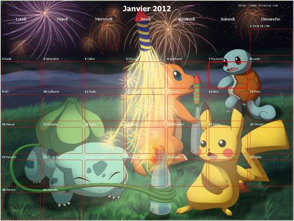 calendrier 2012 mois de janvier