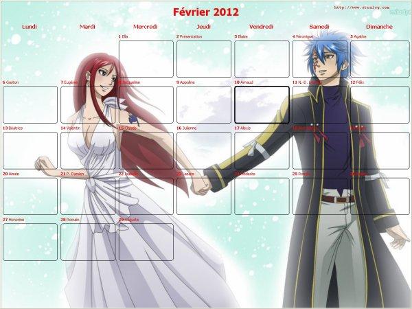 calendrier 2012 mois de février  spécial saint valentin