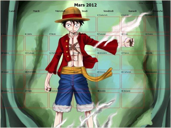 calendrier 2012 mois de mars