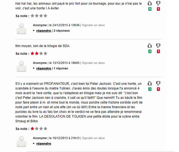 ▬ Les internautes ne l'acceptent pas et se déchainent contre Peter Jackson.